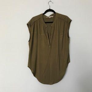 Rachel Roy Sleeveless Cotton Army Green Shirt